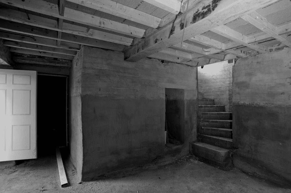 A basement renovation in a large house.