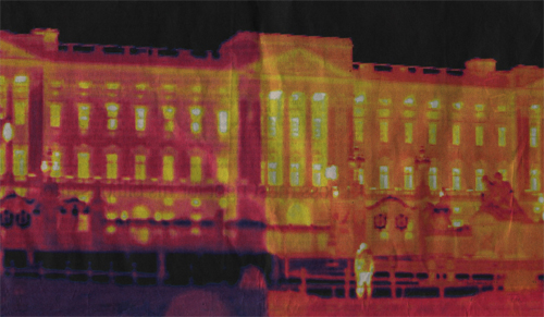 A thermal scan of Buckingham Palace shows heat escaping from windows