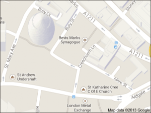 A map of our London office.