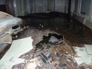 Water damage after arson attack